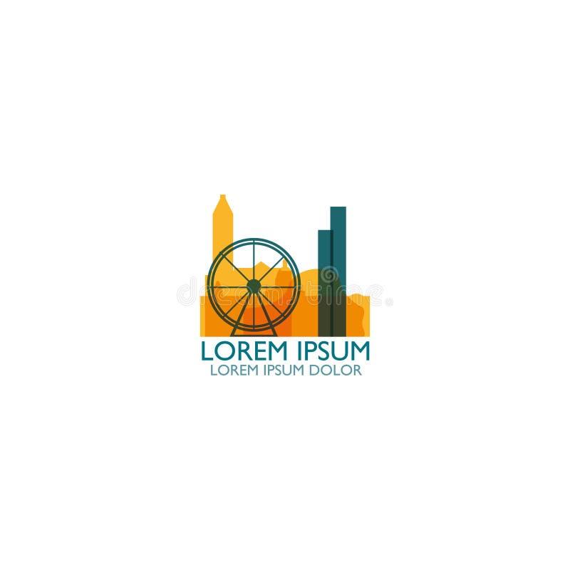 Ejemplo plano del logotipo del horizonte de la ciudad de Birmingham ilustración del vector