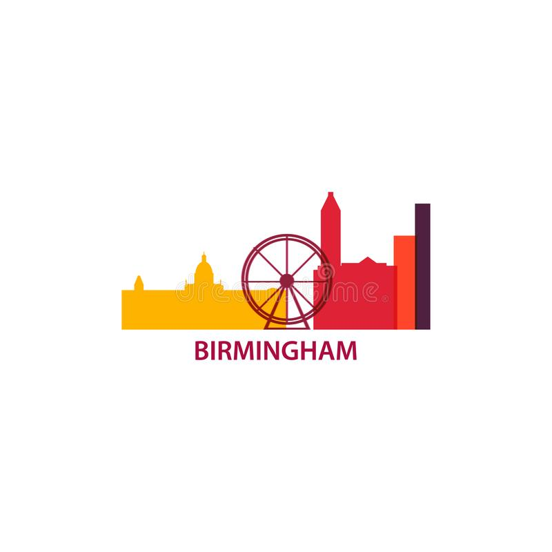 Ejemplo plano del logotipo del horizonte de la ciudad de Birmingham libre illustration
