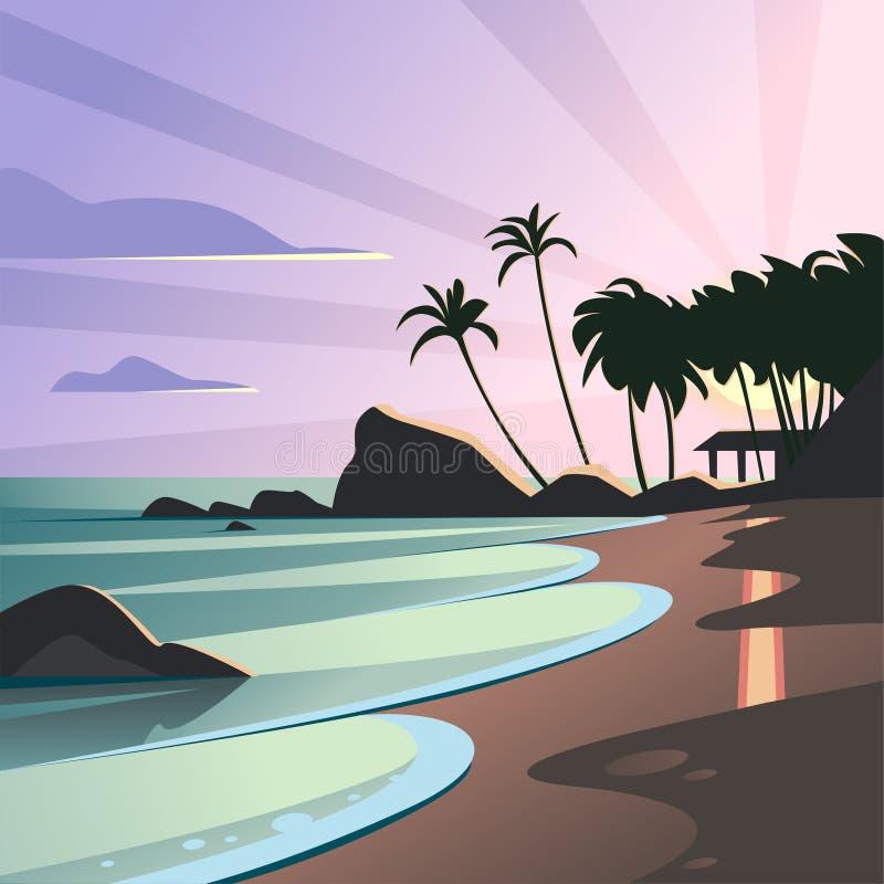 Ejemplo plano del paisaje del vector de la puesta del sol salvaje del verano de la naturaleza en la opinión de la playa con el ci ilustración del vector