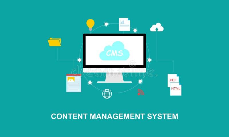 Ejemplo plano del sistema de gestión del contenido del diseño stock de ilustración