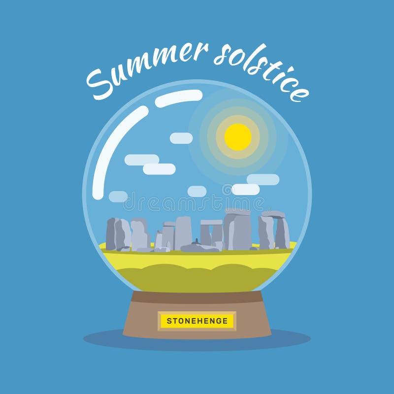 Ejemplo plano del solsticio de verano stock de ilustración