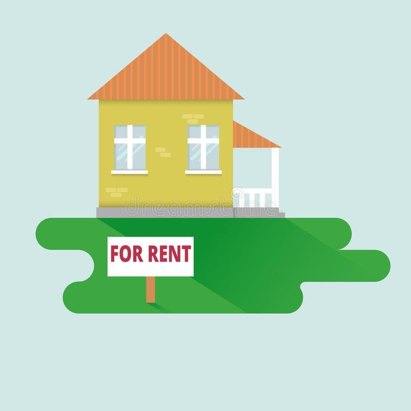 Ejemplo plano del vecotr del diseño del alquiler de casa Anuncio de Real Estate ilustración del vector