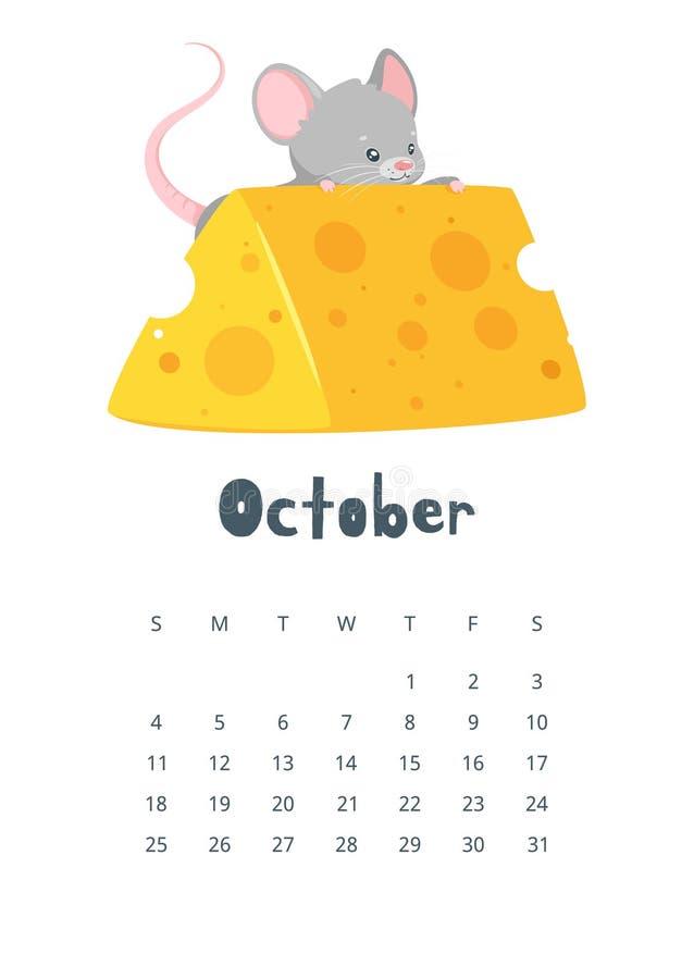 Ejemplo plano del vector del calendario de octubre ilustración del vector