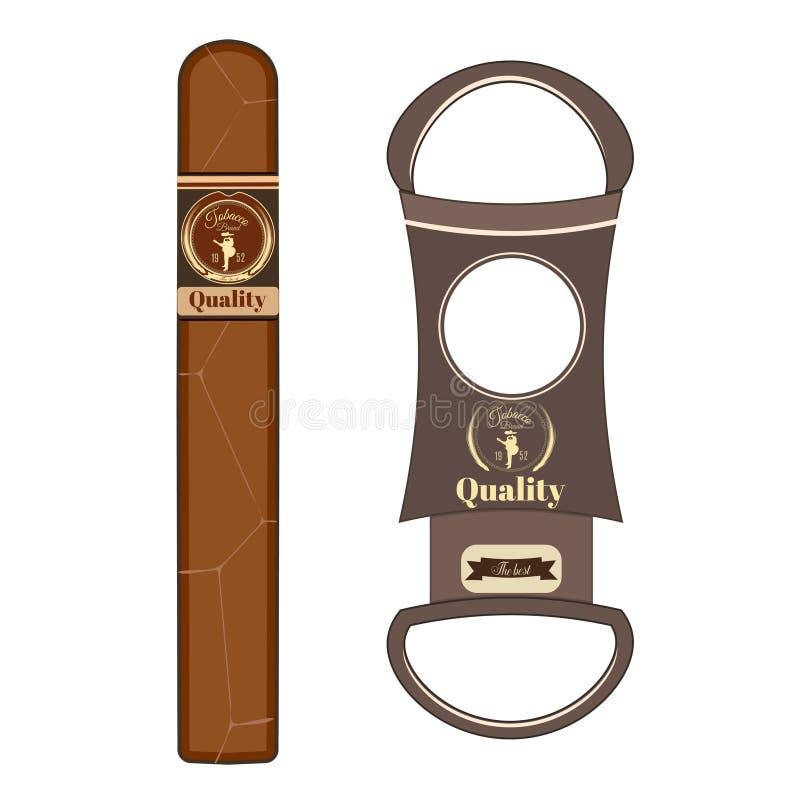Ejemplo plano del vector del cigarro y del cortador de cigarro stock de ilustración