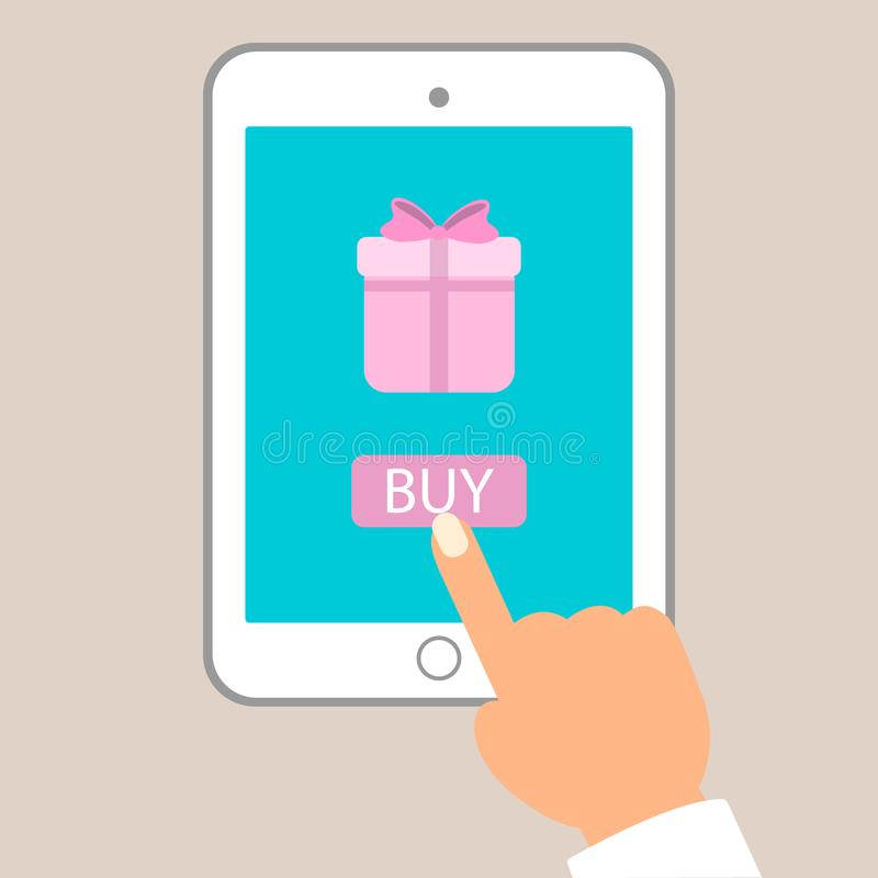 Ejemplo plano del vector del comercio electrónico Botón de la compra del empuje del hombre en la PC de la tableta para comprar el ilustración del vector