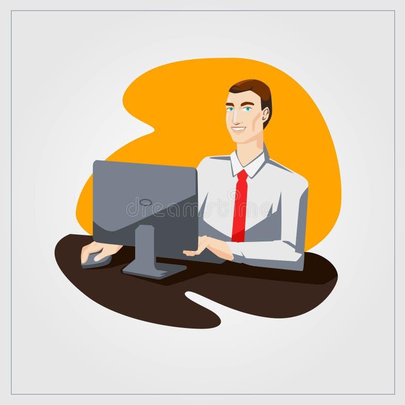 Ejemplo plano del vector con el ordenador de trabajo del hombre en oficina libre illustration