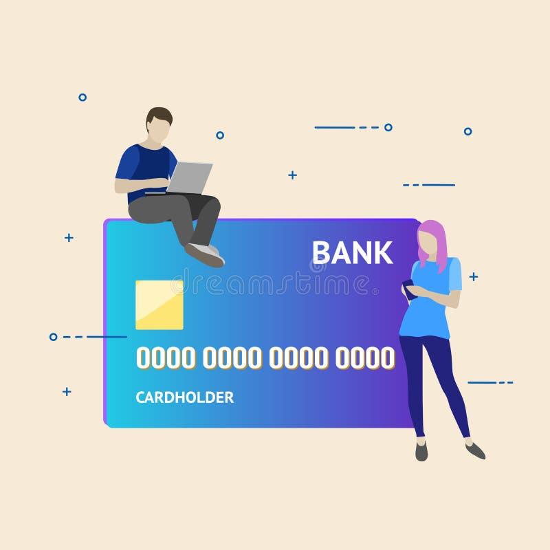 Ejemplo plano del vector del concepto bancario móvil Usando un smartphone para las operaciones con las tarjetas y las cuentas de  imagen de archivo