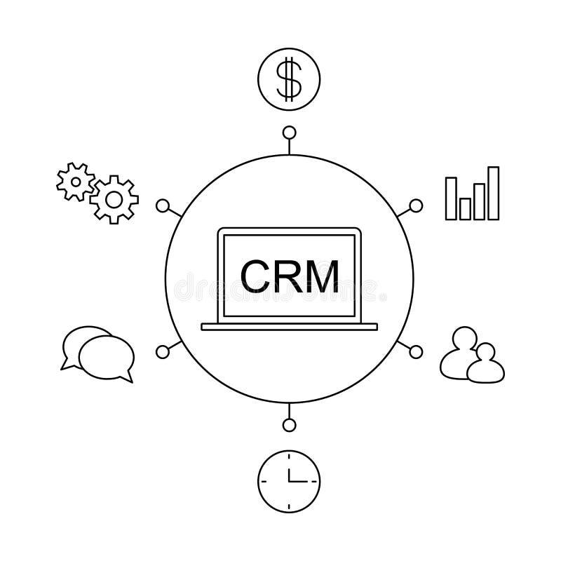 Ejemplo plano del vector del concepto de la gestión de la relación del cliente de CRM ilustración del vector