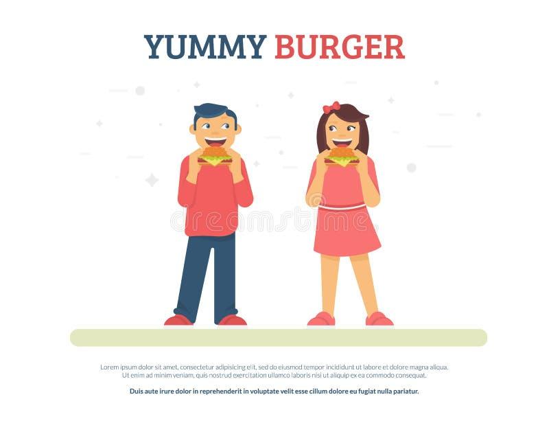 Ejemplo plano del vector del concepto delicioso de la hamburguesa del muchacho divertido y de la muchacha que comen las hamburgue stock de ilustración