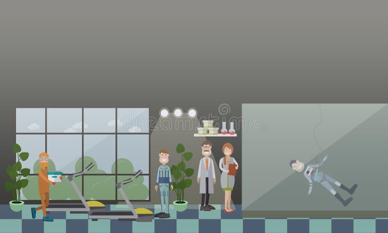 Ejemplo plano del vector del concepto del entrenamiento del astronauta libre illustration