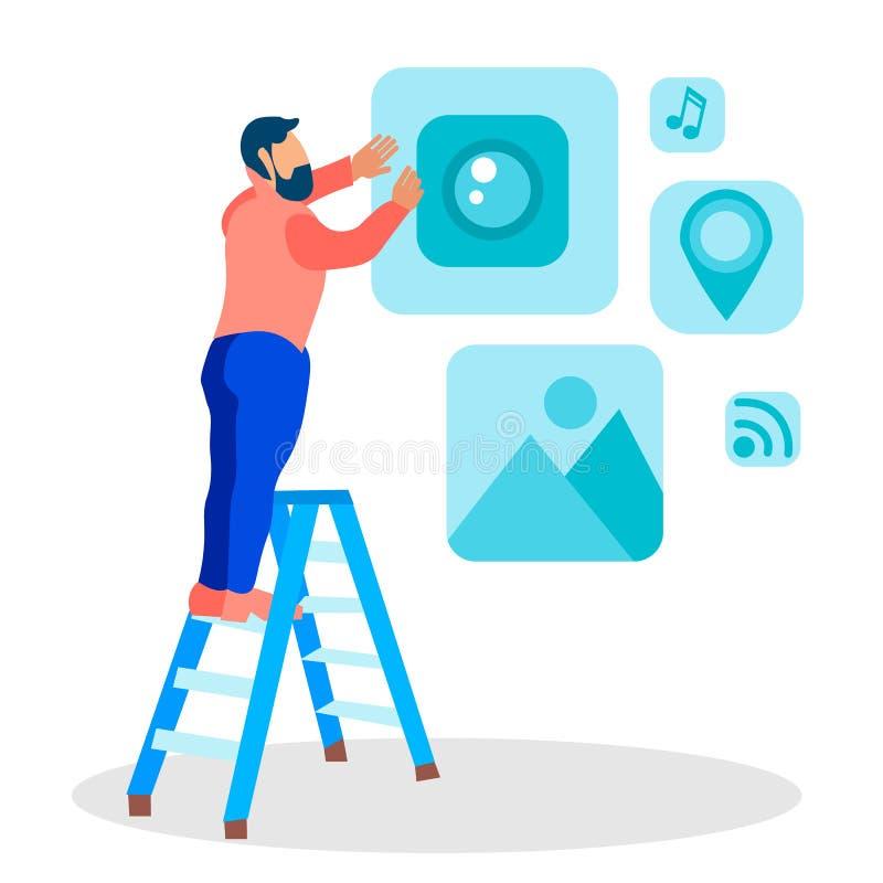 Ejemplo plano del vector de Creating UI del diseñador web libre illustration