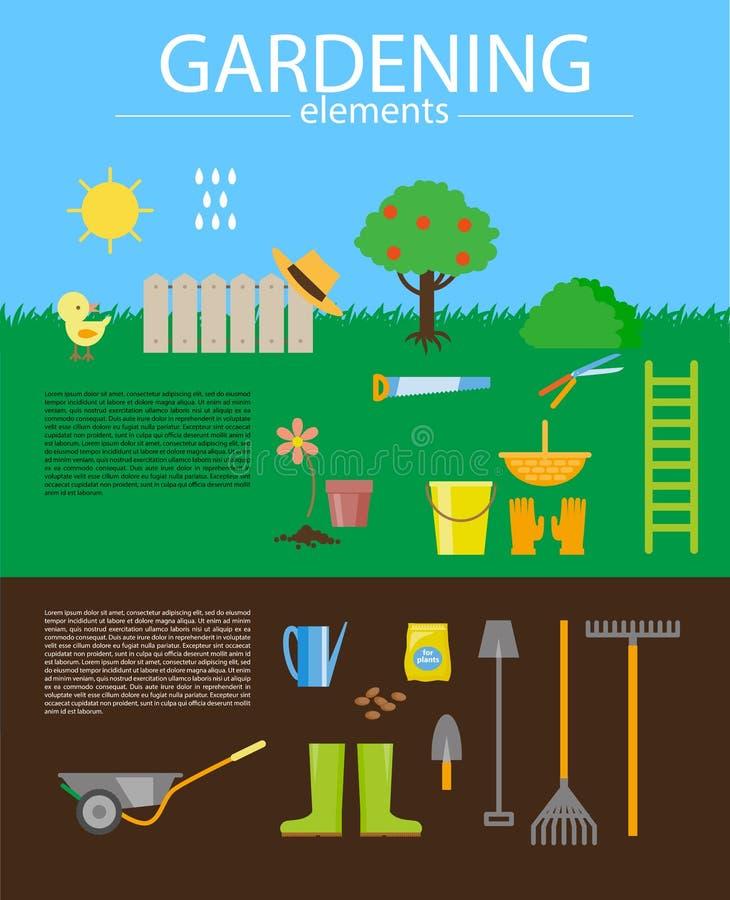Ejemplo plano del vector de elementos que cultivan un huerto ilustración del vector