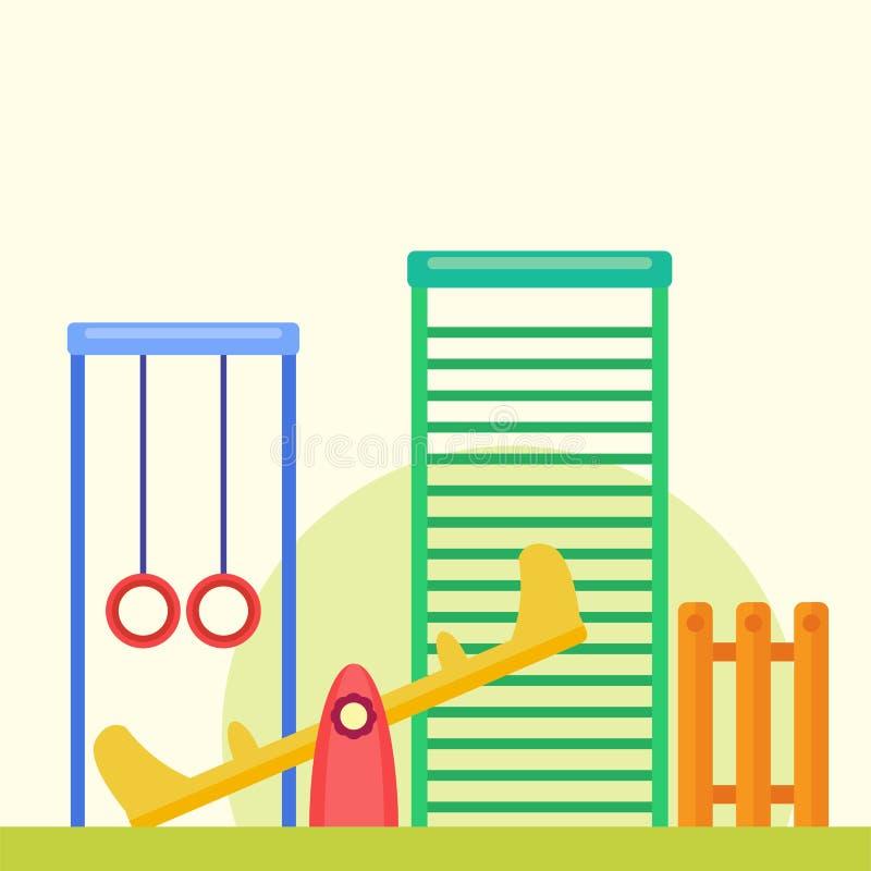 Ejemplo plano del vector de la actividad del parque del juego de la niñez de la diversión del patio de los niños libre illustration