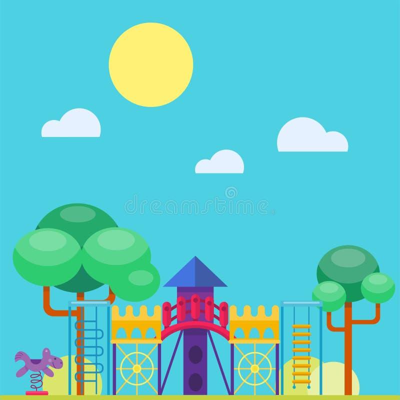 Ejemplo plano del vector de la actividad del parque del juego de la niñez de la diversión del patio de los niños ilustración del vector