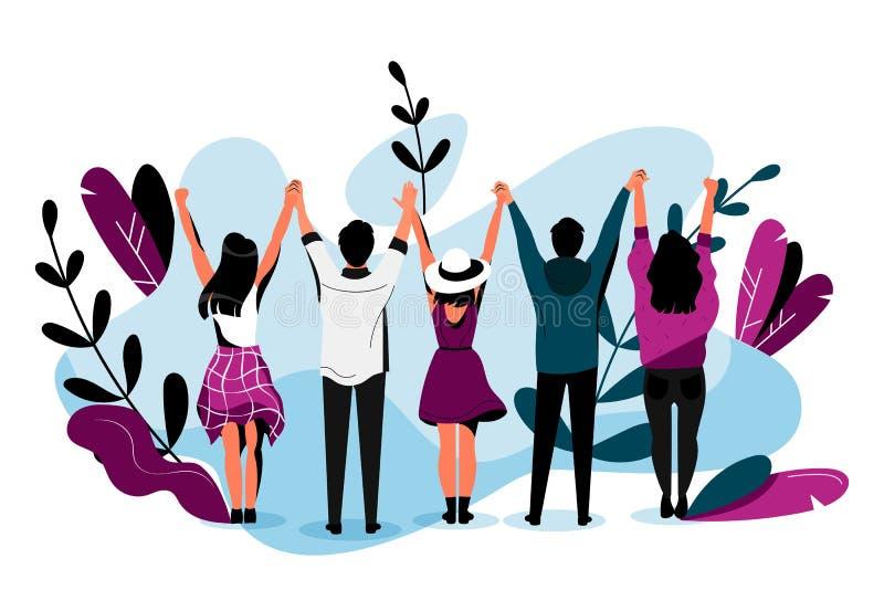 Ejemplo plano del vector de la amistad amigos felices que abrazan junto La gente joven tiene un acontecimiento de la diversión ju libre illustration
