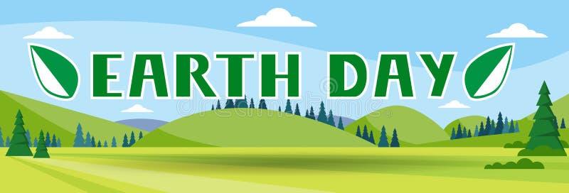 Ejemplo plano del vector de la bandera del paisaje del verano de la naturaleza del día de fiesta del Día de la Tierra stock de ilustración
