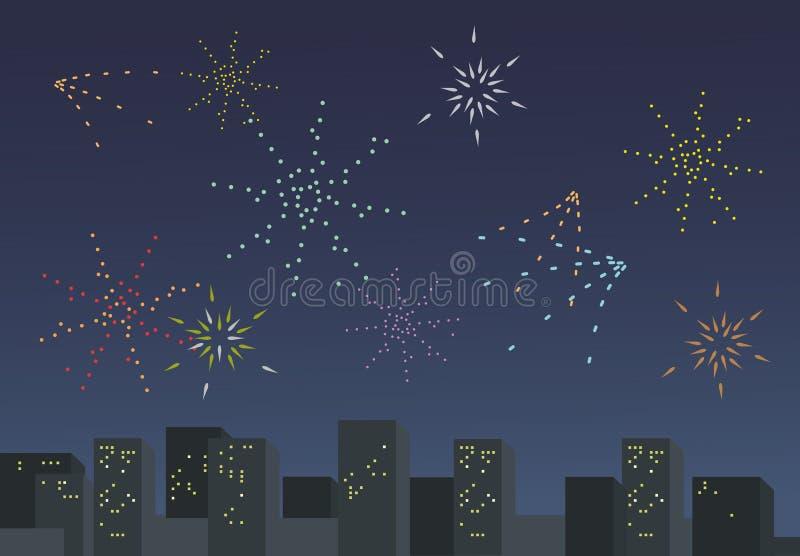 Ejemplo plano del vector de la celebración del Año Nuevo con los fuegos artificiales sobre ciudad stock de ilustración