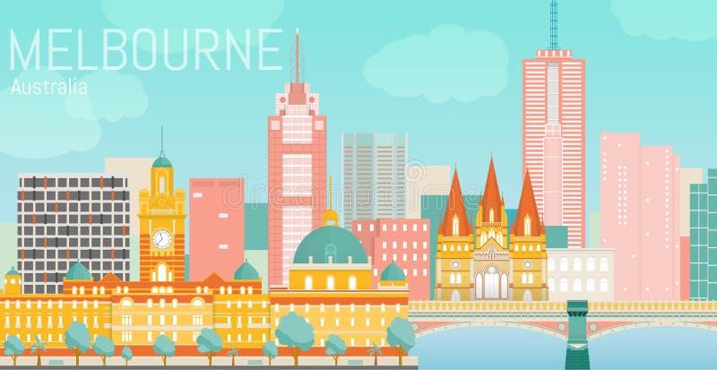Ejemplo plano del vector de la ciudad de Melbourne fotos de archivo libres de regalías