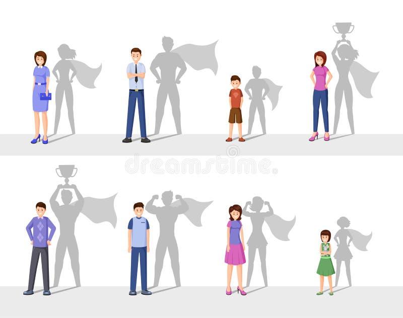 Ejemplo plano del vector de la dirección Gente feliz con la sombra del super héroe, hombres confiados, mujeres e historieta de lo stock de ilustración