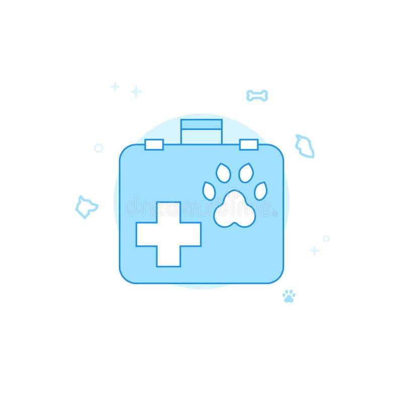 Ejemplo plano del vector de la maleta veterinaria, icono Diseño monocromático azul claro Movimiento Editable stock de ilustración