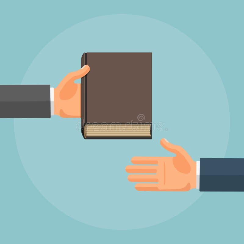 Ejemplo plano del vector de la mano que da el libro stock de ilustración