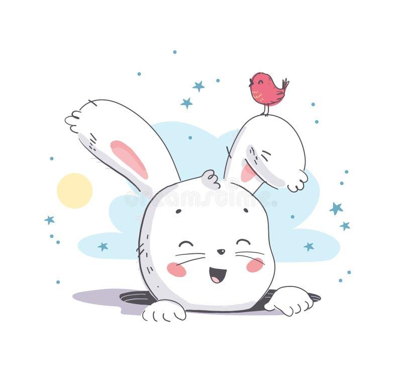 Ejemplo plano del vector de la pequeña cabeza blanca linda del carácter del conejito del bebé que sonríe del agujero y del pájaro libre illustration