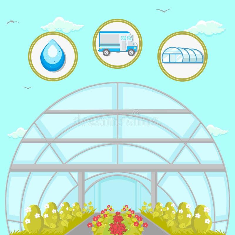 Ejemplo plano del vector de la plantación del invernadero stock de ilustración