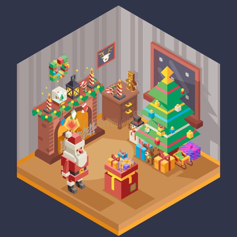 Ejemplo plano del vector de la plantilla del diseño del sitio del Año Nuevo de la chimenea del árbol de navidad de Papá Noel de r ilustración del vector