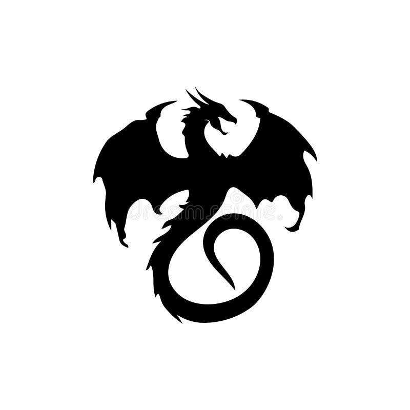 Ejemplo plano del vector de la plantilla del logotipo del color del drag?n principal stock de ilustración