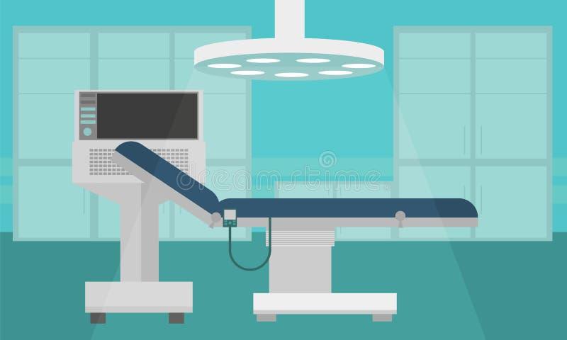Ejemplo plano del vector de la terapia intensiva interior del sitio de hospital ilustración del vector