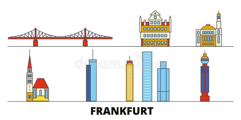 Ejemplo plano del vector de las señales de Alemania, Francfort Línea ciudad con vistas famosas del viaje, horizonte de Alemania,  ilustración del vector