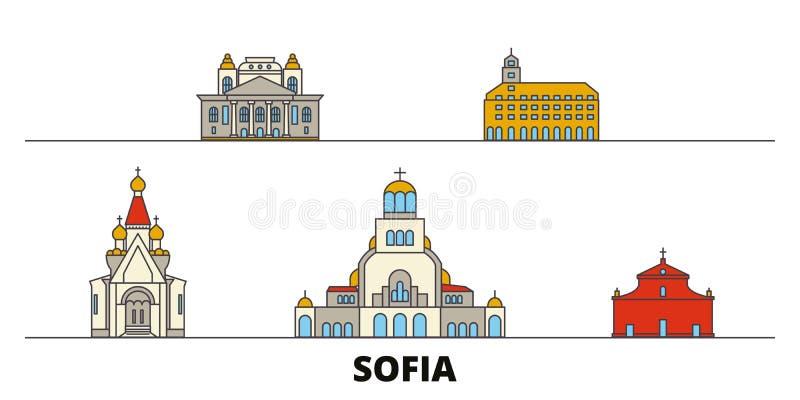Ejemplo plano del vector de las señales de Bulgaria, Sofía Línea ciudad con vistas famosas del viaje, horizonte, diseño de Bulgar libre illustration