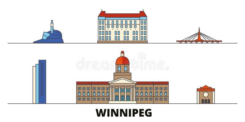 Ejemplo plano del vector de las señales de Canadá, Winnipeg Línea ciudad con vistas famosas del viaje, horizonte de Canadá, Winni stock de ilustración