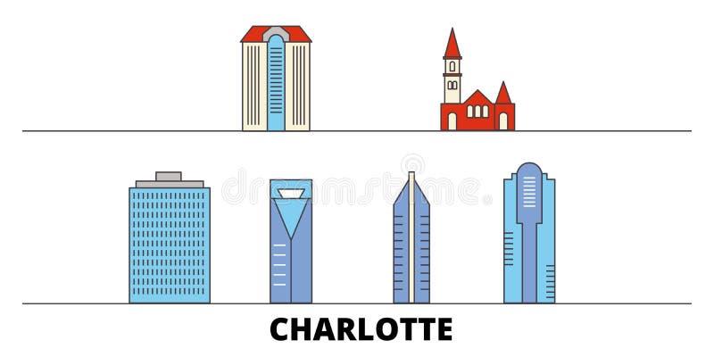 Ejemplo plano del vector de las señales de Estados Unidos, Charlotte Línea ciudad de Estados Unidos, Charlotte con viaje famoso libre illustration