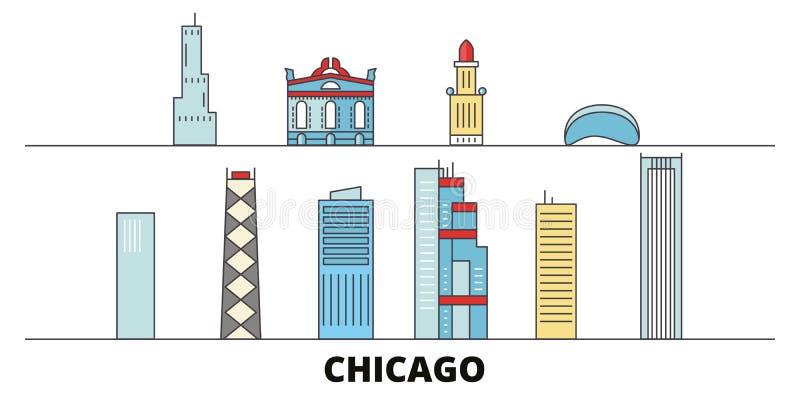 Ejemplo plano del vector de las señales de Estados Unidos, Chicago Línea ciudad de Estados Unidos, Chicago con vistas famosas del ilustración del vector
