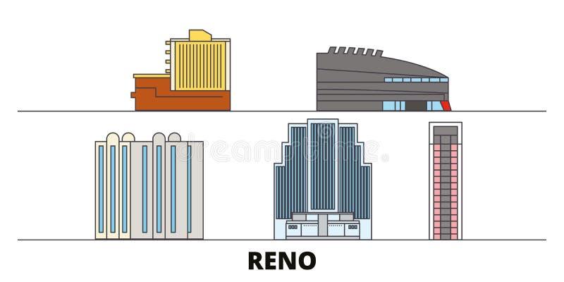 Ejemplo plano del vector de las señales de Estados Unidos, Reno Línea ciudad con vistas famosas del viaje, horizonte de Estados U stock de ilustración