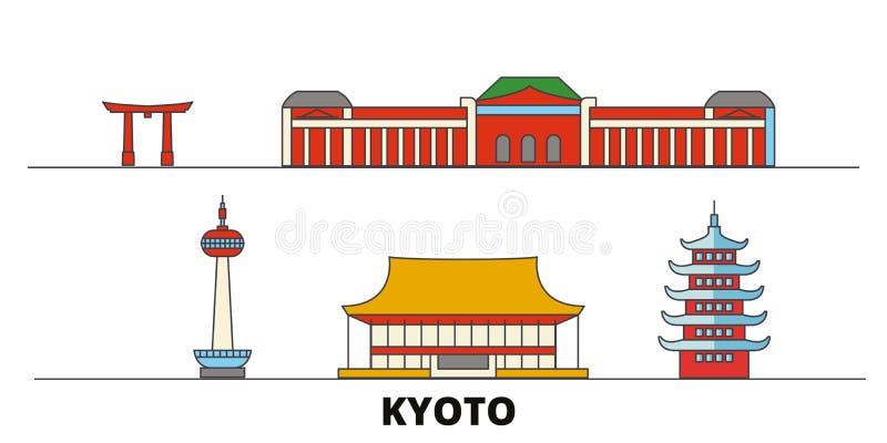 Ejemplo plano del vector de las señales de Japón, Kyoto Línea ciudad con vistas famosas del viaje, horizonte, diseño de Japón, Ky ilustración del vector