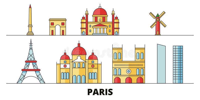 Ejemplo plano del vector de las señales de la ciudad de Francia, París Línea de ciudad de Francia, París ciudad con vistas famosa ilustración del vector