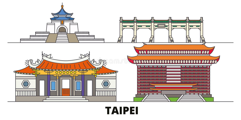 Ejemplo plano del vector de las señales de Taiwán, Taipei Línea ciudad con vistas famosas del viaje, horizonte, diseño de Taiwán, ilustración del vector