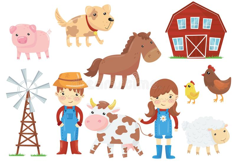 Ejemplo plano del vector de los diversos animales domésticos ganado, pájaros, niños en los guardapolvos de trabajo azules, bomba  ilustración del vector
