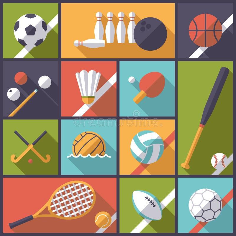 Ejemplo plano del vector de los iconos del diseño de los juegos de pelota libre illustration