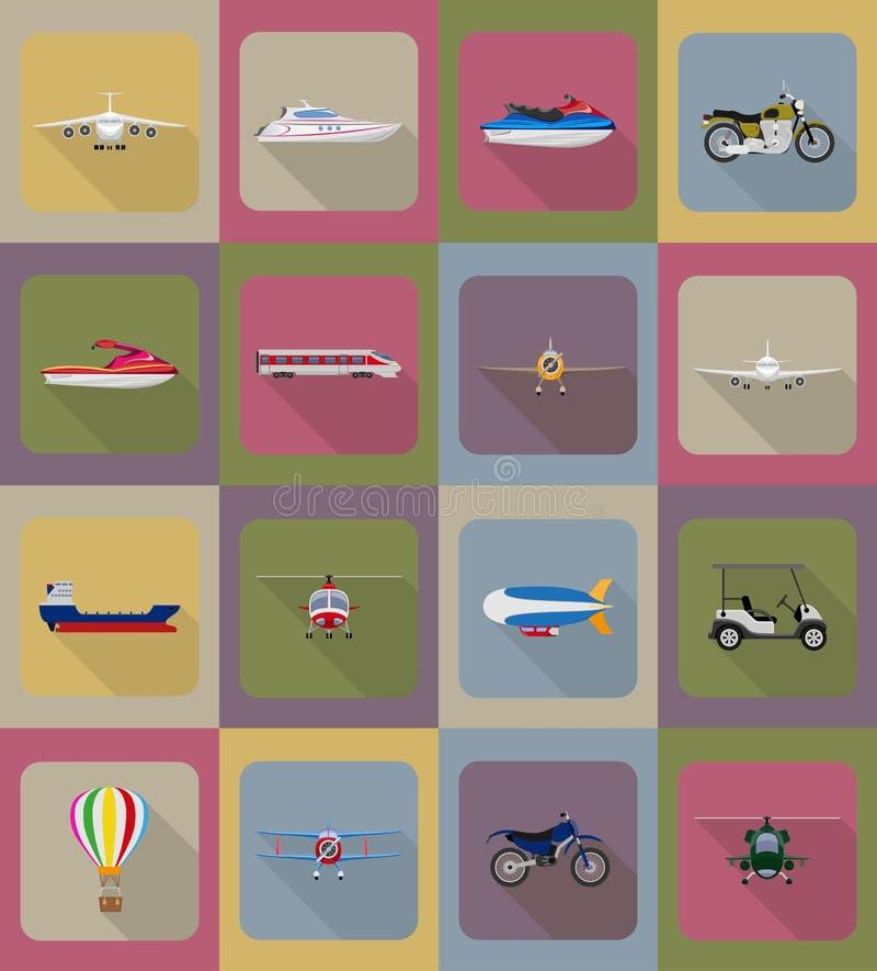 Ejemplo plano del vector de los iconos del transporte ilustración del vector