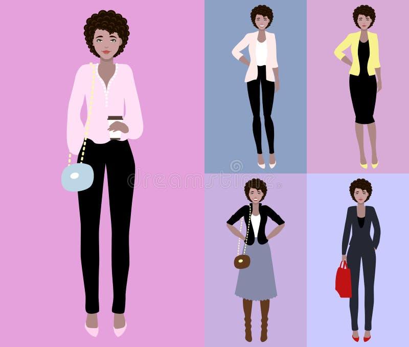 Ejemplo plano del vector de una mujer joven hermosa con el pelo oscuro La mujer joven se vistió en estilo casual y del negocio libre illustration