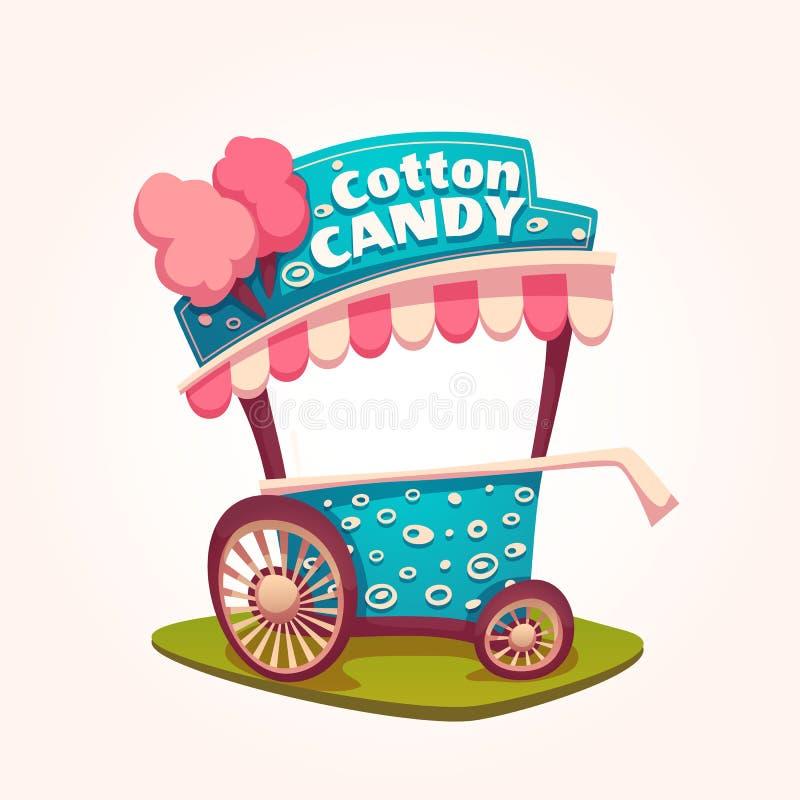 Ejemplo plano del vector del carro del caramelo de algodón stock de ilustración