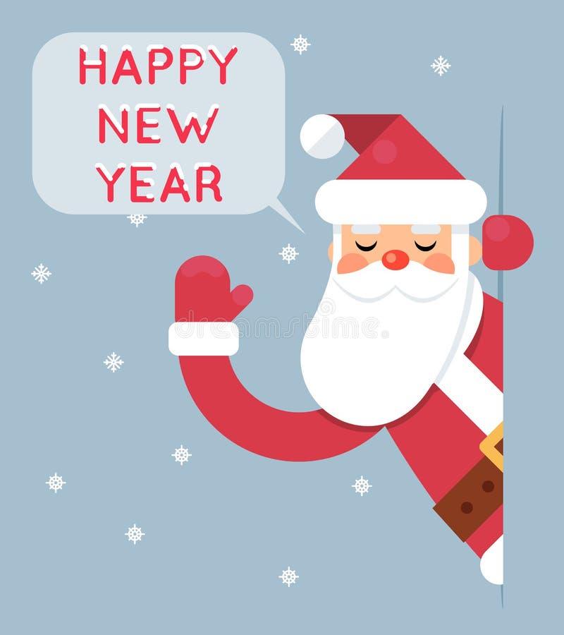 Ejemplo plano del vector del diseño de la tarjeta de felicitación de la Feliz Año Nuevo del carácter de Santa Looking Out Corner  stock de ilustración