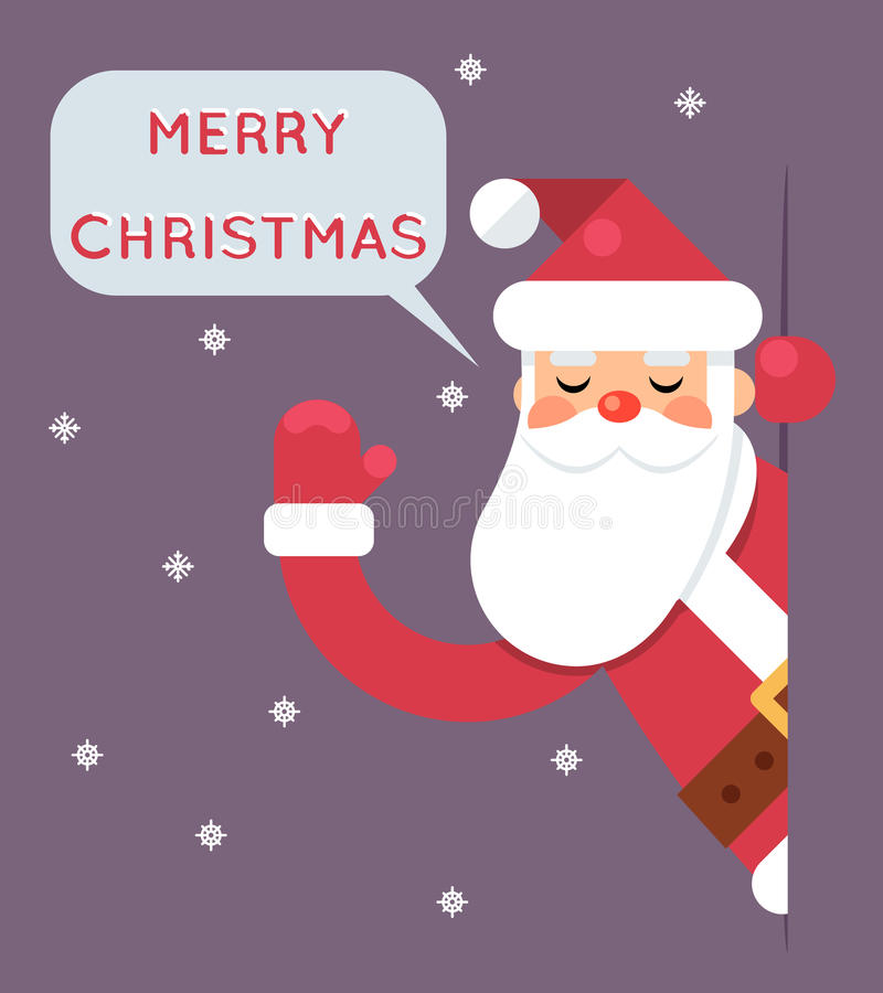 Ejemplo plano del vector del diseño de la tarjeta de felicitación de la Feliz Año Nuevo del carácter de Santa Looking Out Corner  ilustración del vector