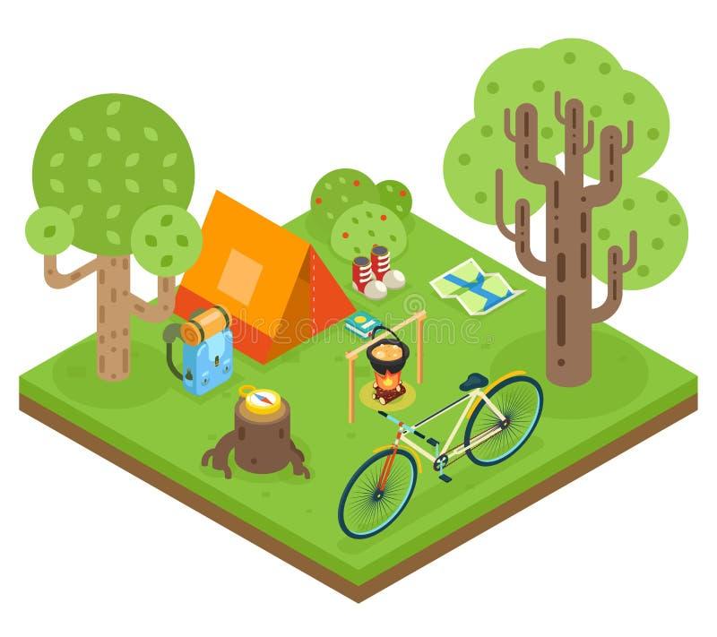 Ejemplo plano del vector del diseño del icono 3d del viaje del campo de la tienda del bosque del fondo de madera isométrico del s stock de ilustración