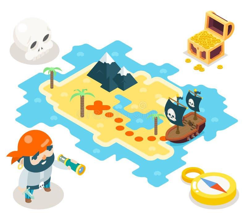 Ejemplo plano del vector del diseño del símbolo isométrico del icono del mapa del RPG del juego de la aventura del tesoro del pir stock de ilustración