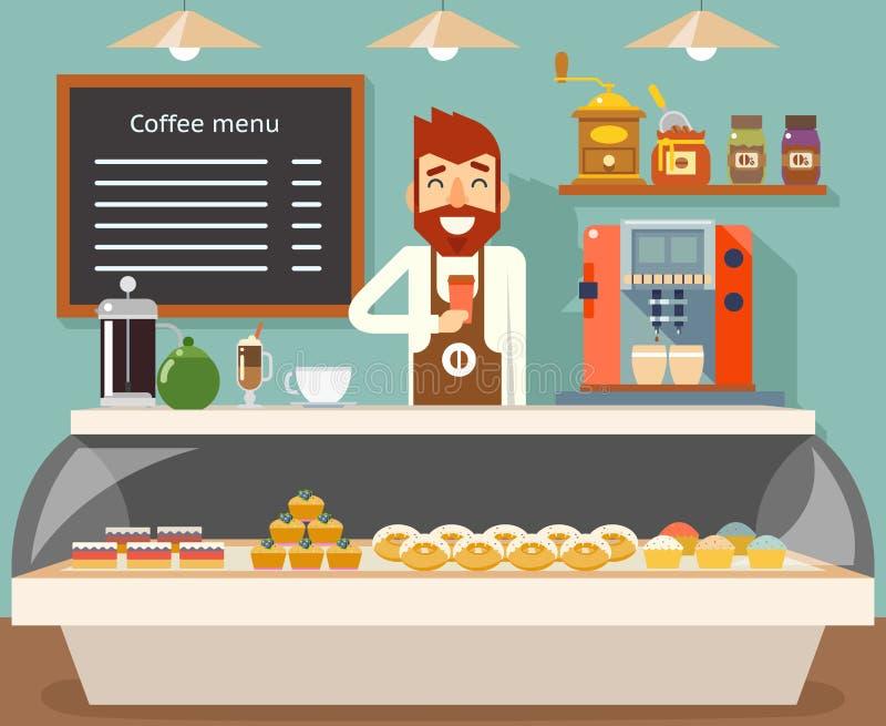 Ejemplo plano del vector del diseño del vendedor de la cafetería de la panadería de los dulces interiores del gusto stock de ilustración