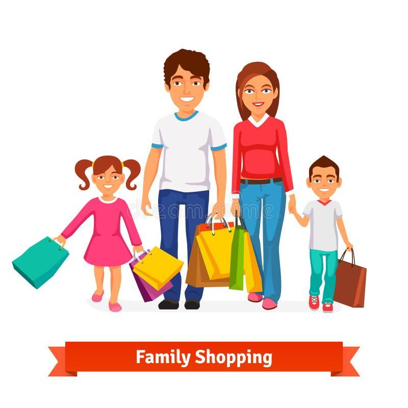 Ejemplo plano del vector del estilo de la familia que hace compras ilustración del vector